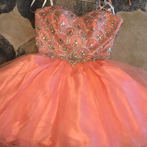 Light Pink Short Strapless Prom/Homecoming Dress